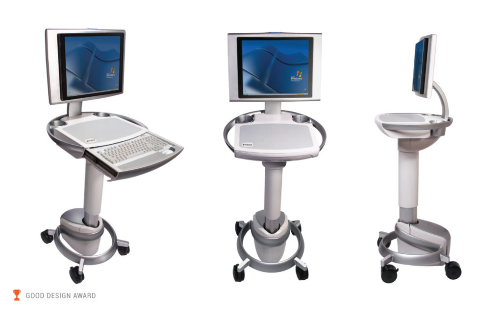 Rioux Vision Medical Cart, Front, Side and Perspective Views