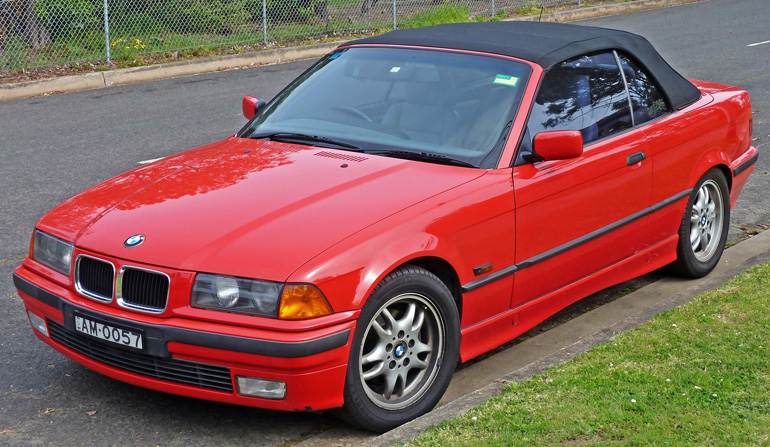 Red BMW 328i E36 Convertible