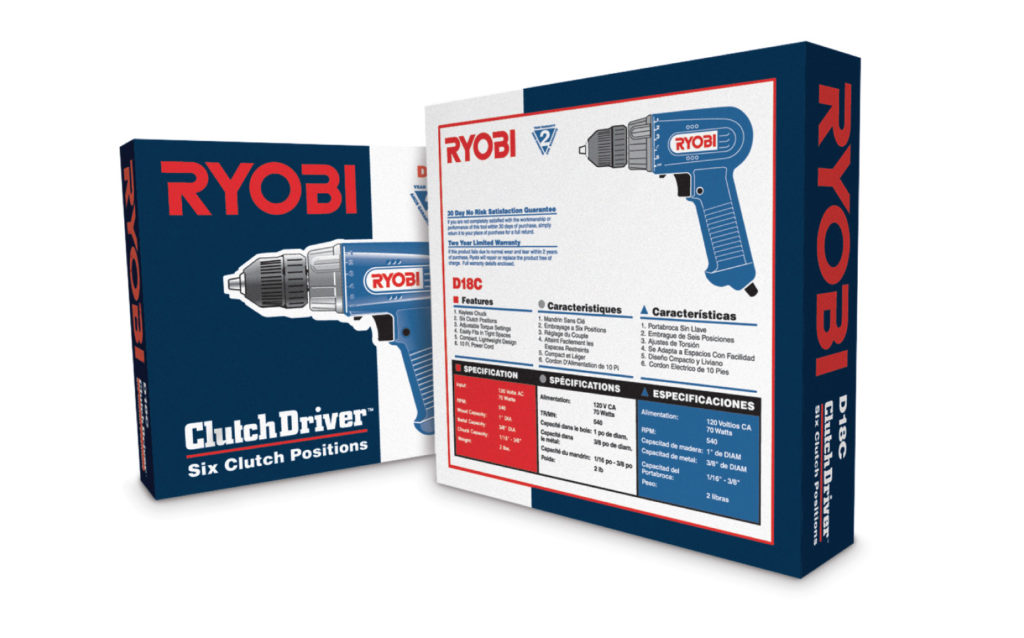 Ryobi Drill Product Packaging