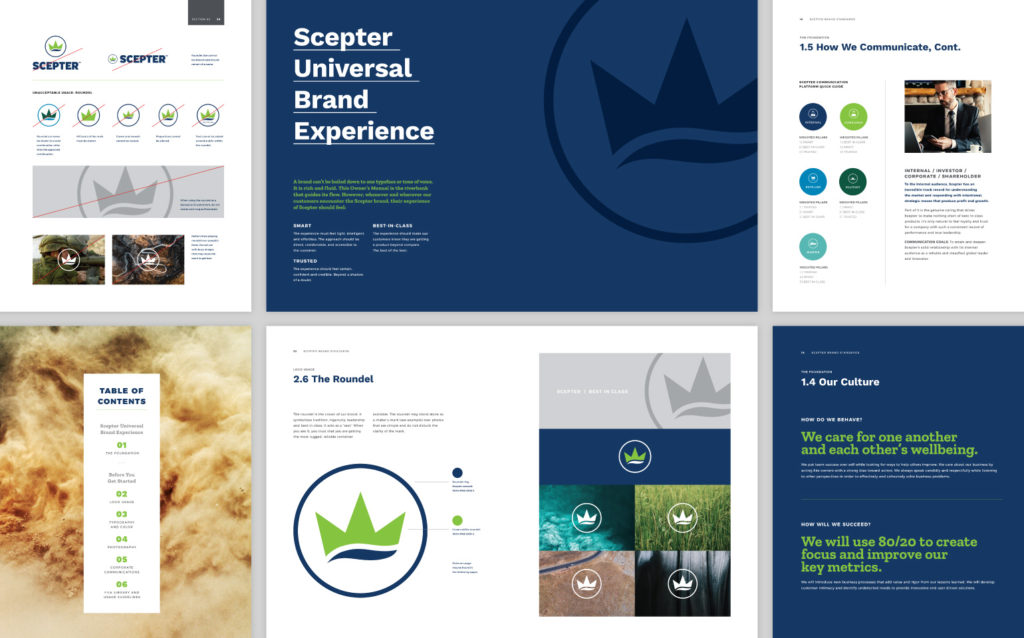 Collage of Scepter Brand Standards