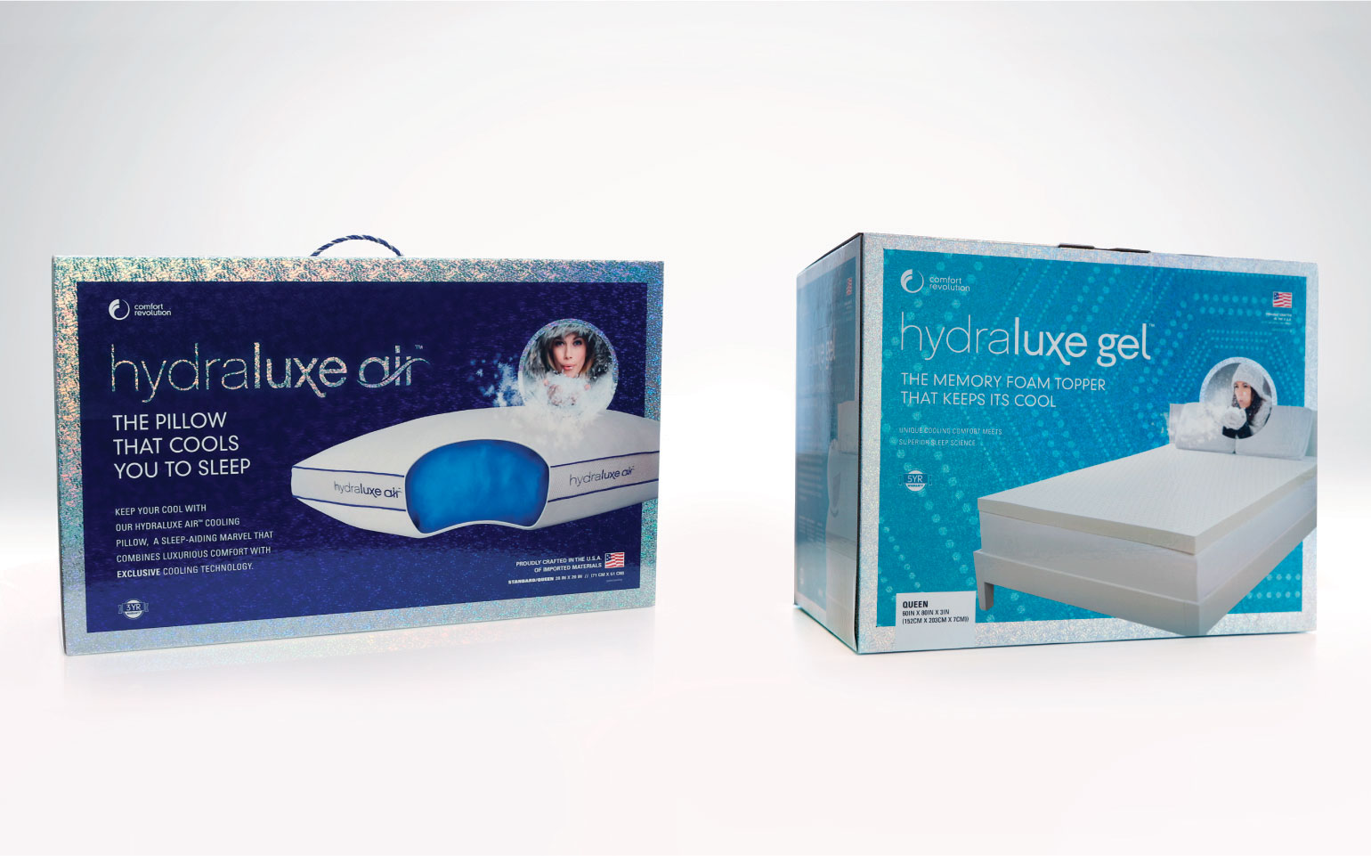 Comfort Revolution Pillow and Topper Packaging