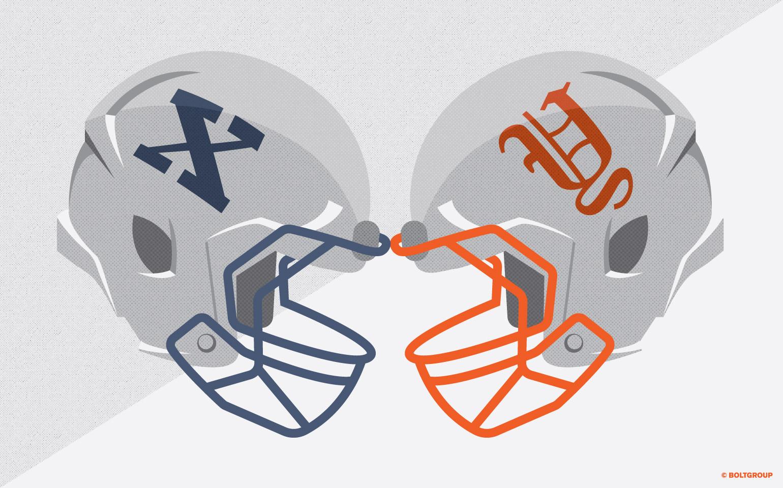 illustration of head to head football helmets