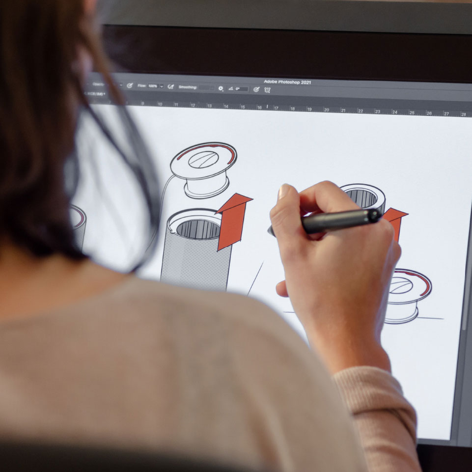 Female using digital pen to draw on a screen