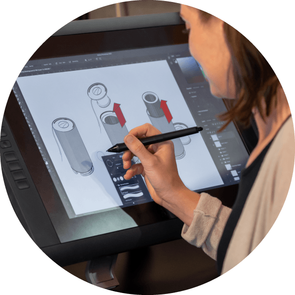 Woman drawing on screen with digital pen