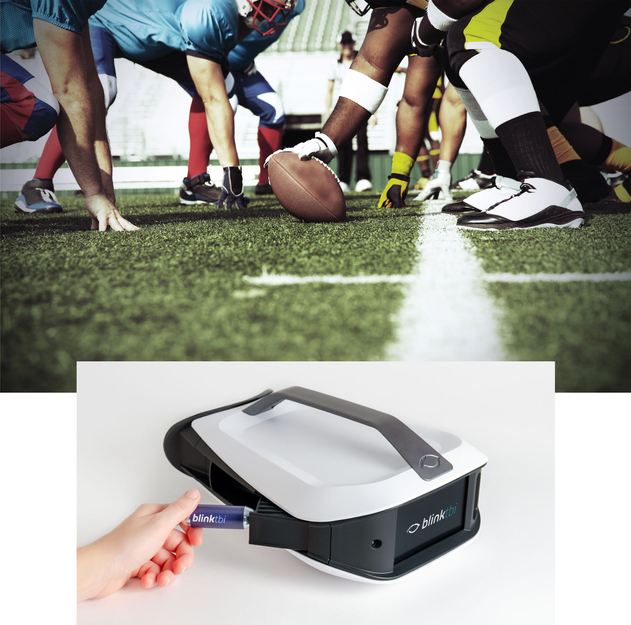image of football players and blink eyestat with air cartridge in view
