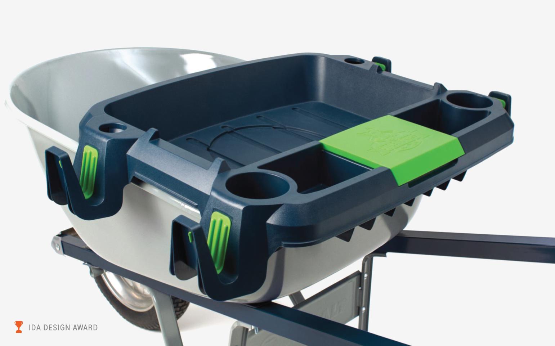 Little Burro wheelbarrow accessory on a wheelbarrow