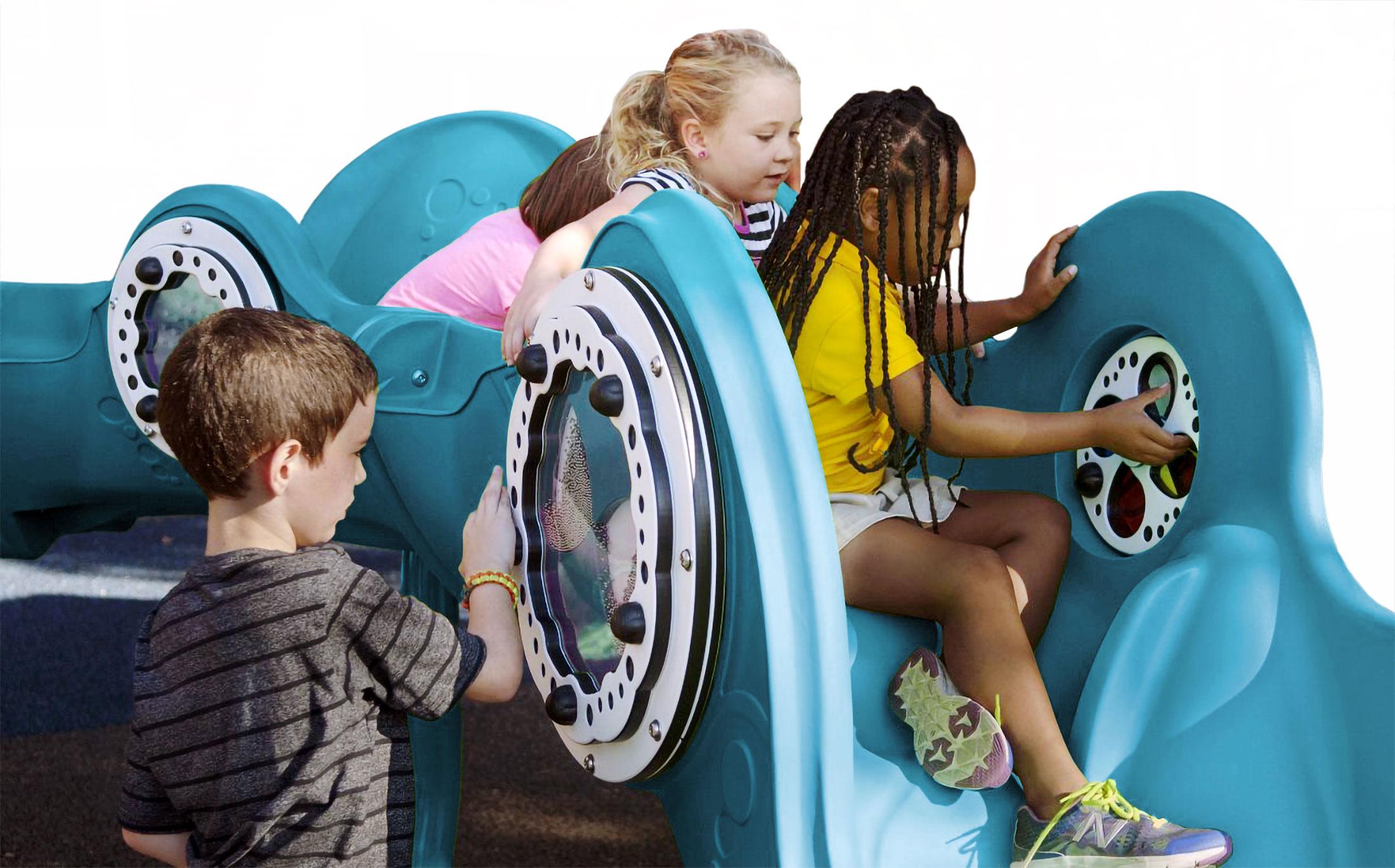 Kids playing on the Playcore Sensory Wave Climber