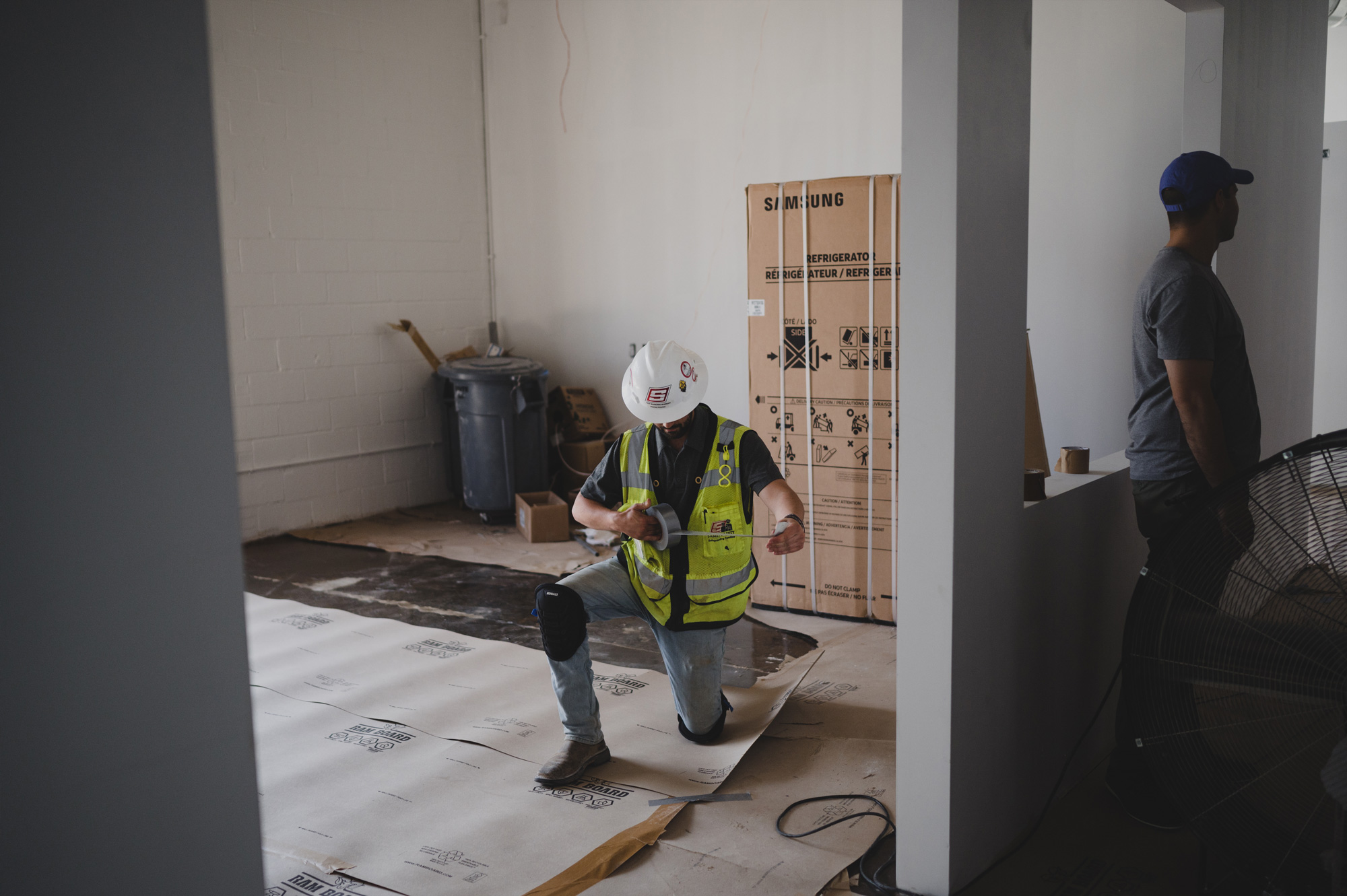 construction worker in BOLTGROUP's new office