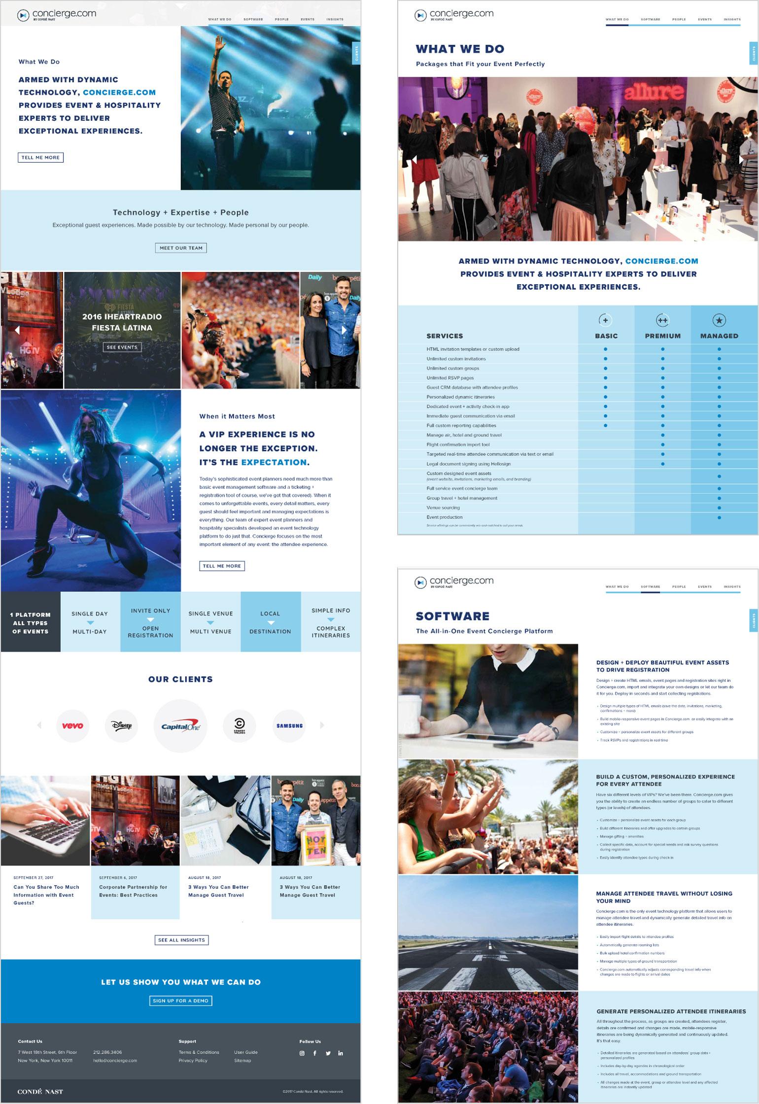 Concierge.com web pages